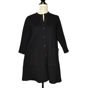 COS Textured Long Sweater Cardigan Black Size XS